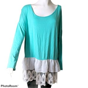 Bellaire Tunic light Turquiose Blue Lace Bottom